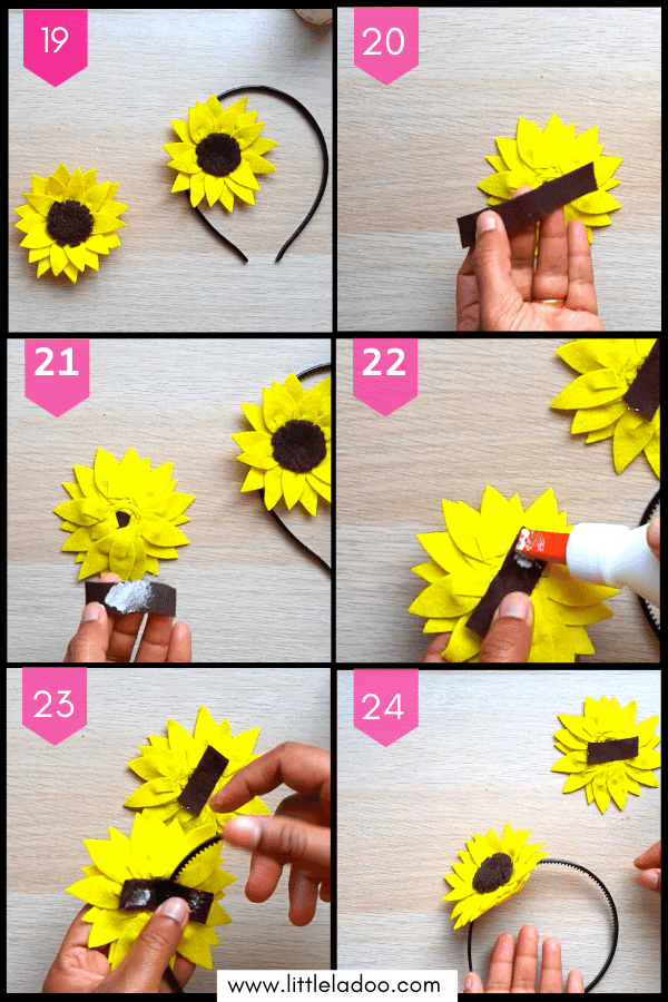 Attach sunflower to the hairband, sunflower hairband for kids