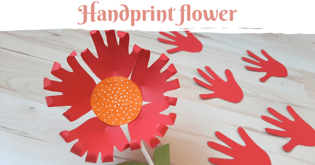 paper flower with handprint for kids