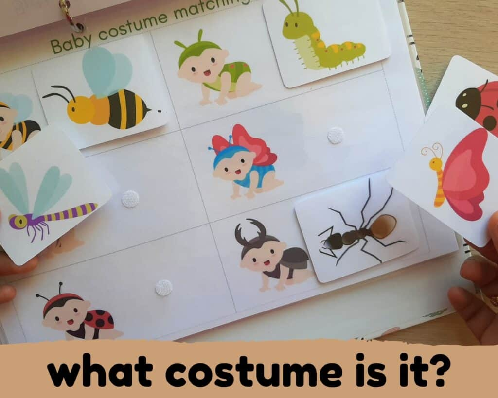 baby insect costume matching activity