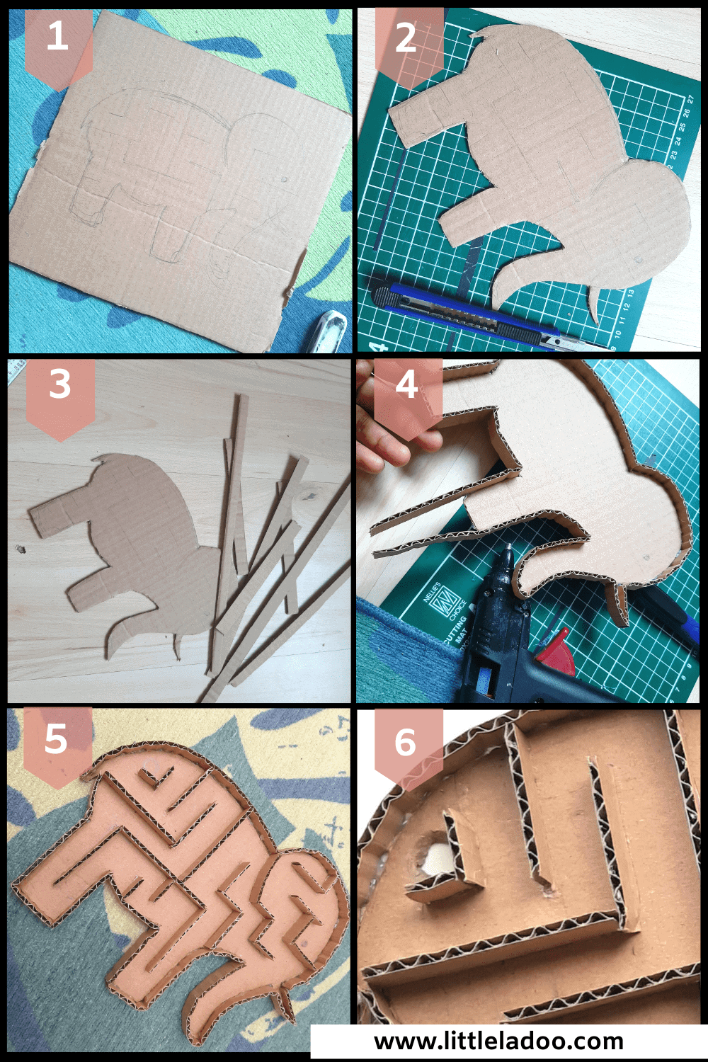 tutorial diy cardboard maze step by step pictures