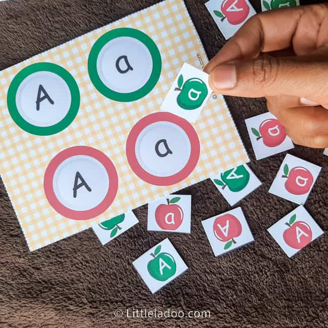 Letter A apple sorting game