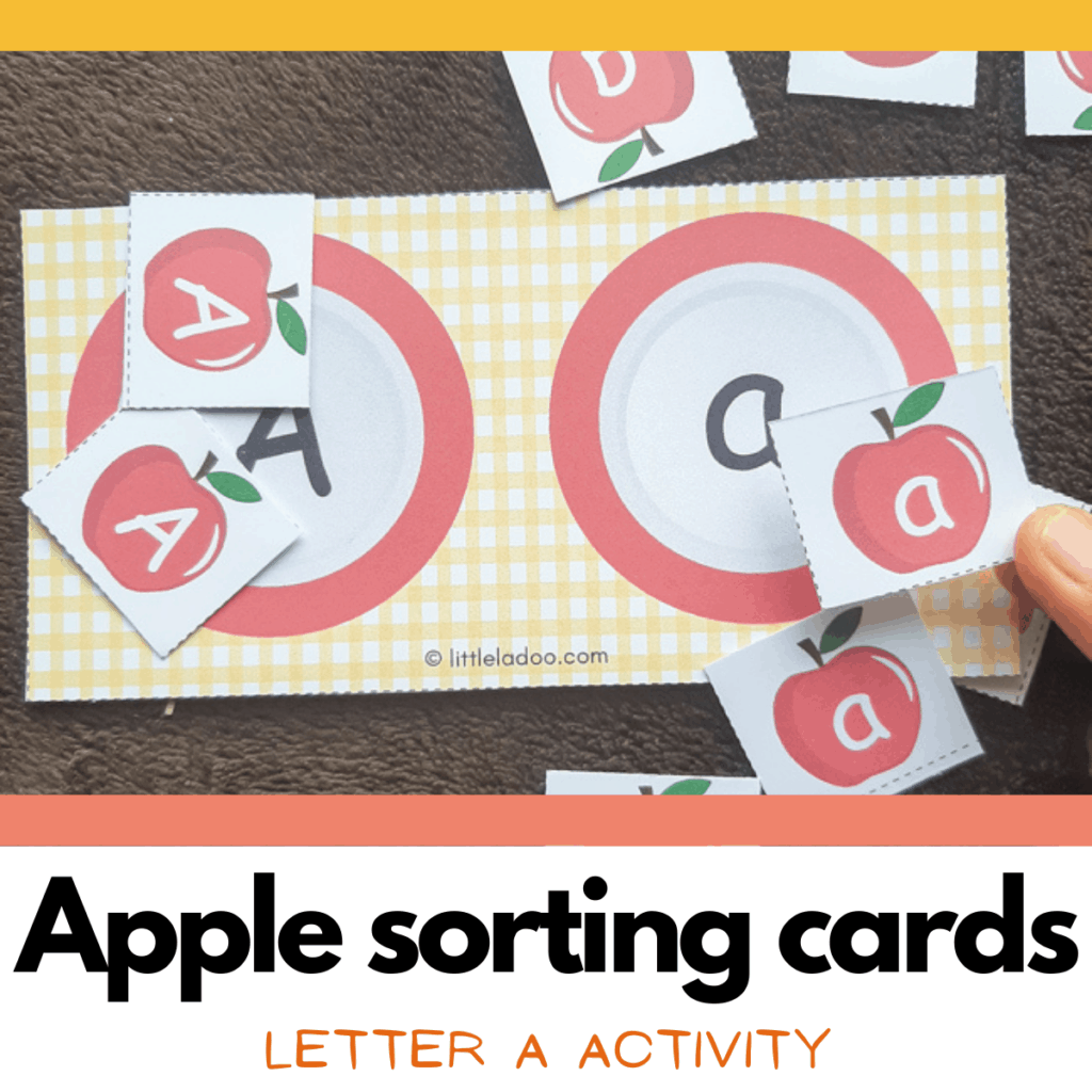 apple sorting letter A activities