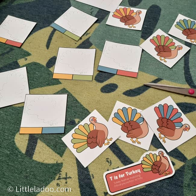 busy bag cards turkey colourful feather matching