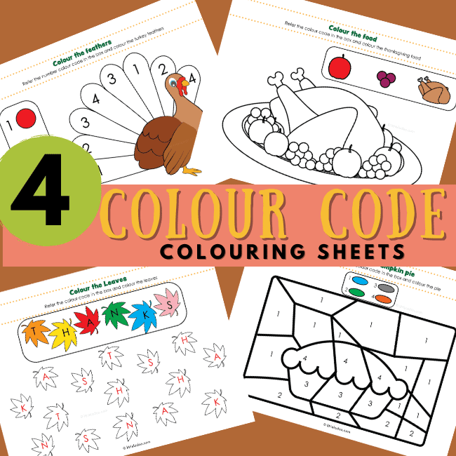 Colour code colouring turkey, leaves, pumpkin pie and food