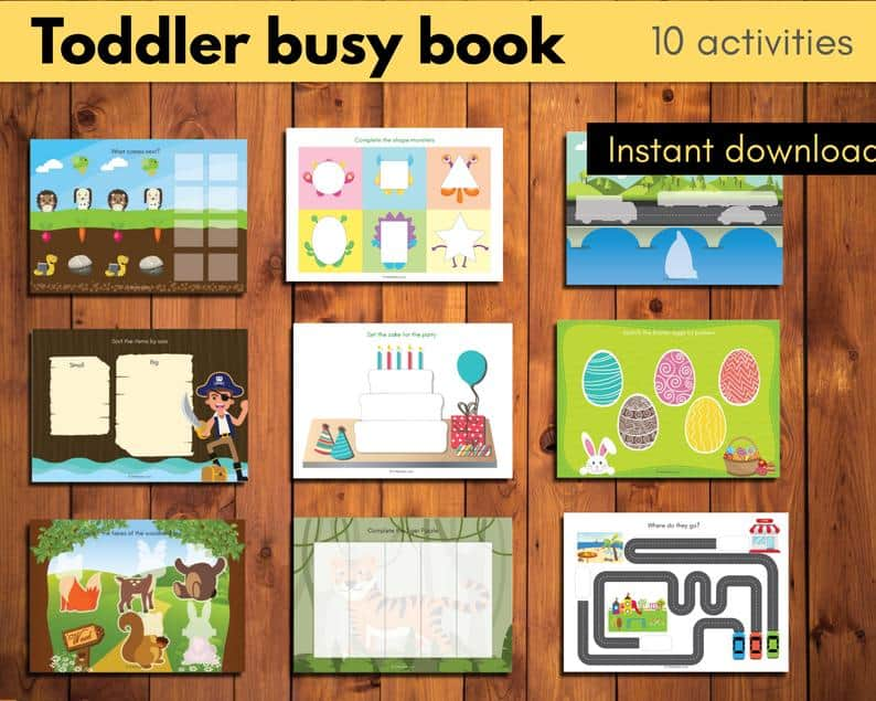 toddler busy book 10 activities