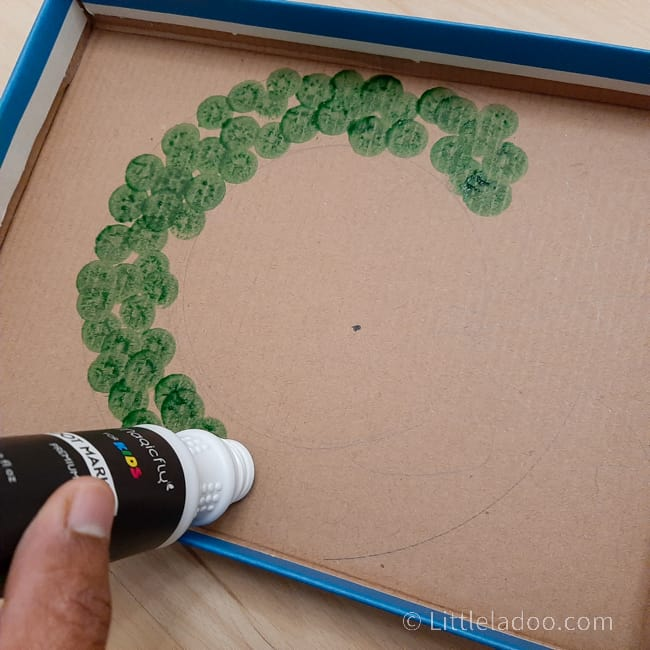 Wreath made with dot marker