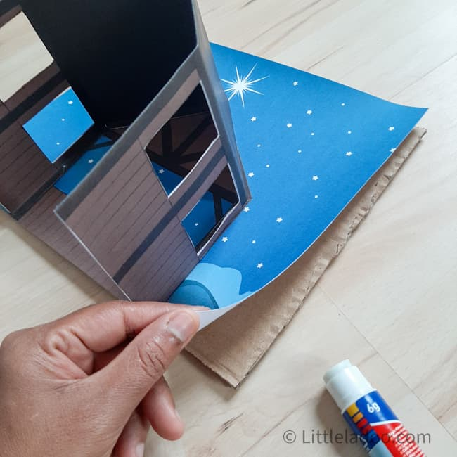 Nativity barn, skey full of stars made with paper