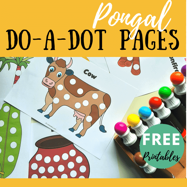 Pongal do-a-dot colouring pages