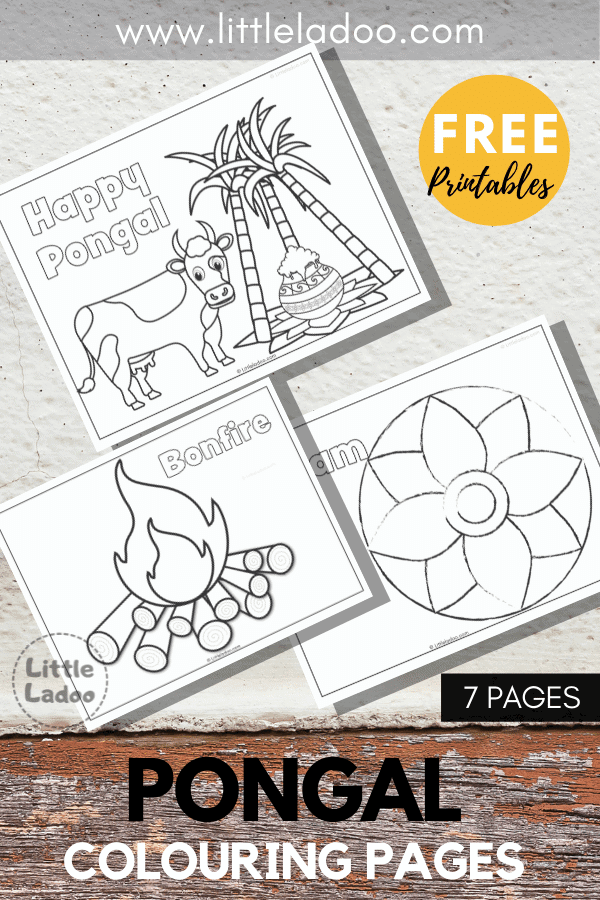Free printable Pongal colouring pages