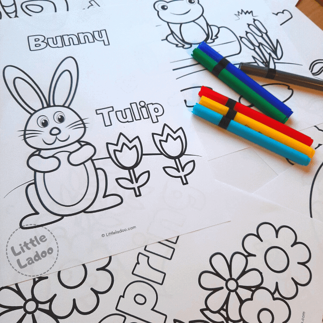 Colouring sheets and brush pens