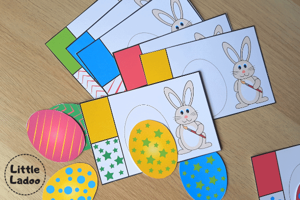 Easter egg matching printable cards