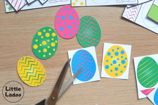 Easter egg printable activity matching pieces