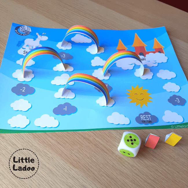 printable board game with rainbows and dice