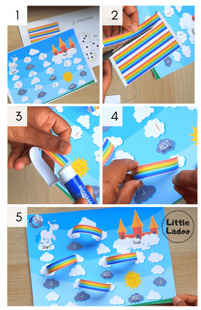 printable rainbow board game step by step instructions