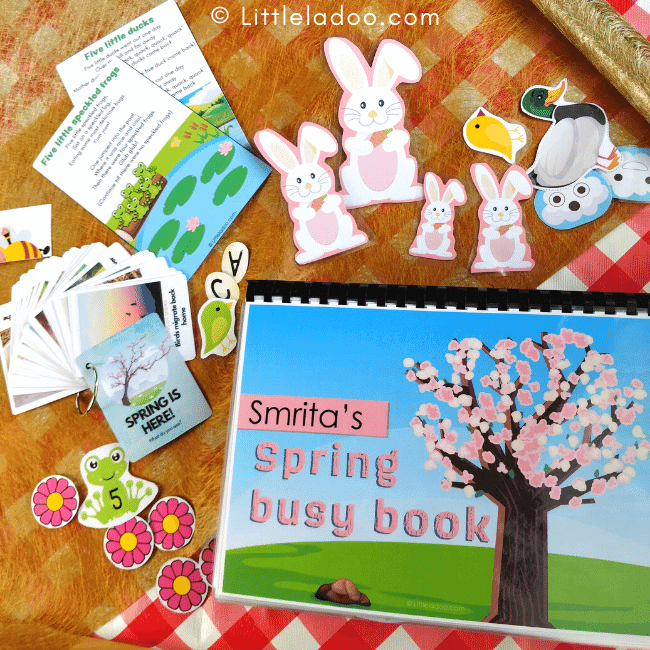 spring busy book & matching pieces flashcards