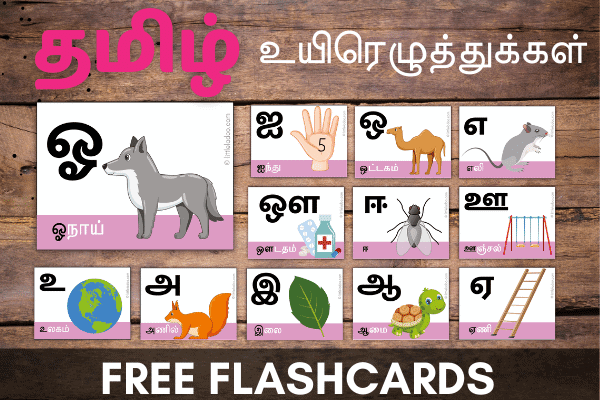 Tamil Uyir eluthukal flashcards, tamil vowels learning resources