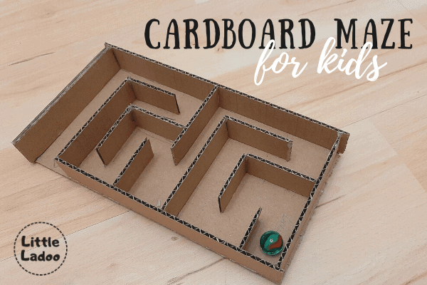 Cardboard maze with marble for kids