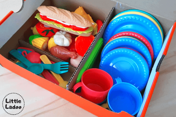 play kitchen accessories - veggies, plates, spoons, forks, storage