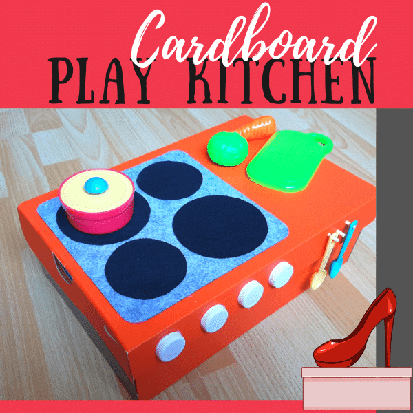 Play kitchen made with shoebox. Hob and worktop