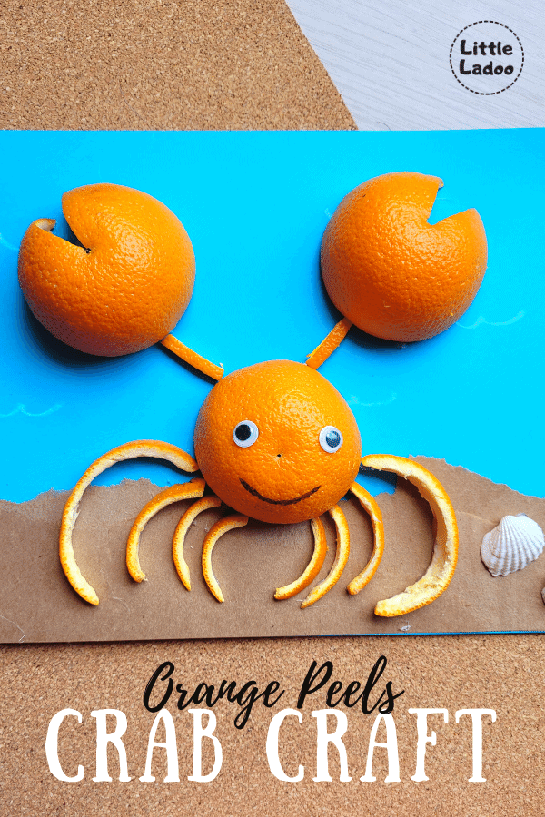 how to make a crab with orange peels craft idea