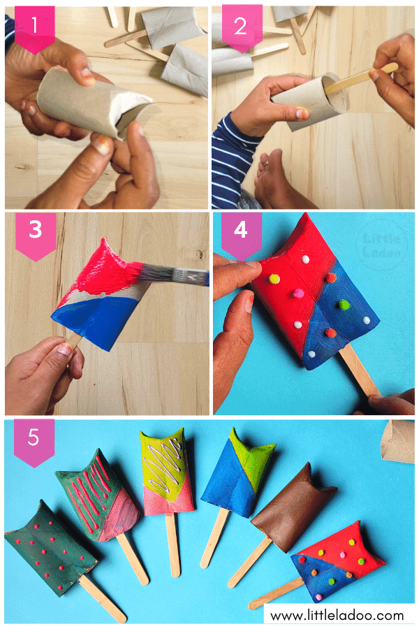 Toilet paper roll popsicles - step by step instructions