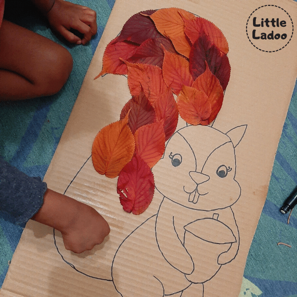 Stick the leaves using paper glue
