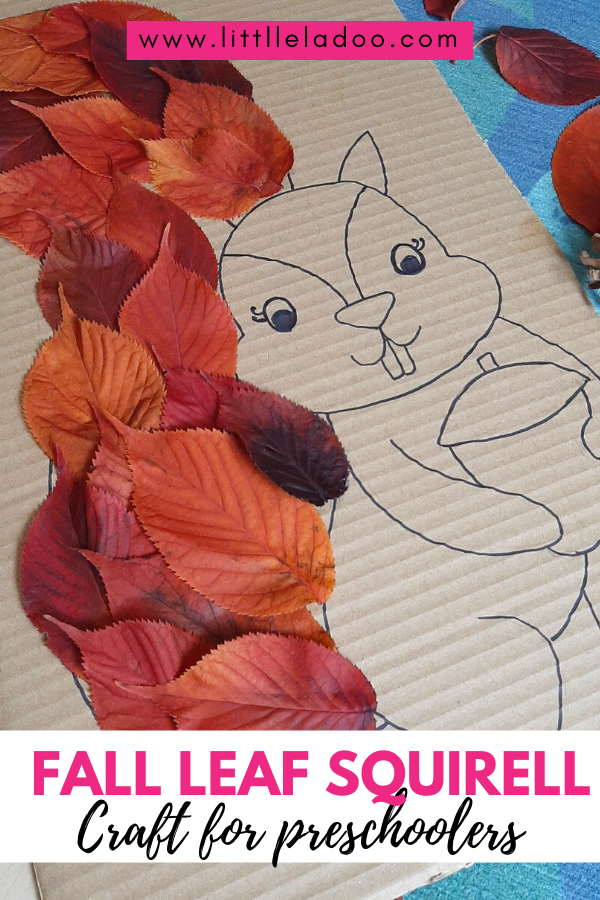 Squirrel craft made with fall leaf