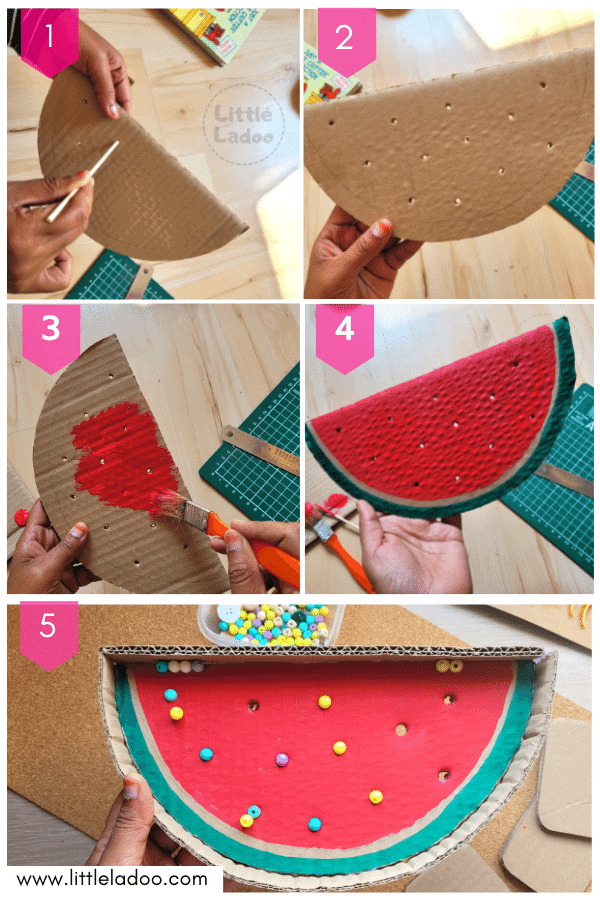 how to make a watermelon cardboard game for kids