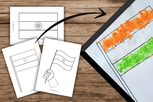 Indian flag template for craft, colouring