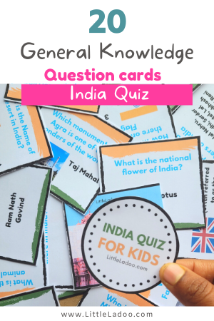 General Knowledge Question cards for kids about India