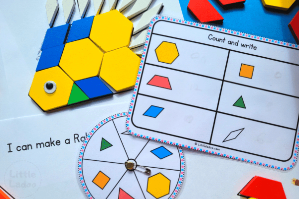 Fall pattern block mats with spinner and counting mat