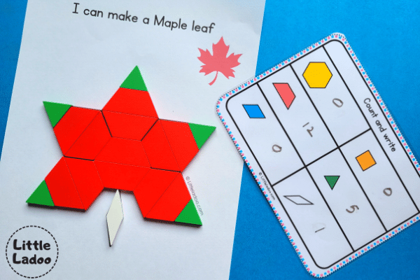Maple leaf pattern block mat with counting activity