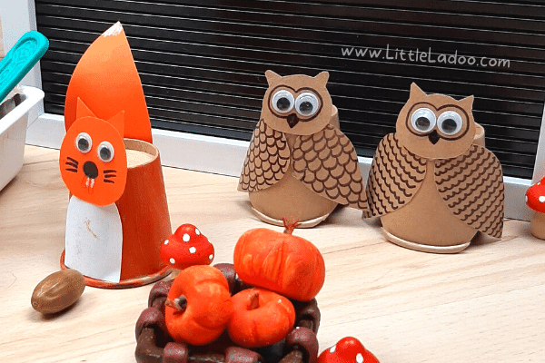 Papercup owl and squirrel